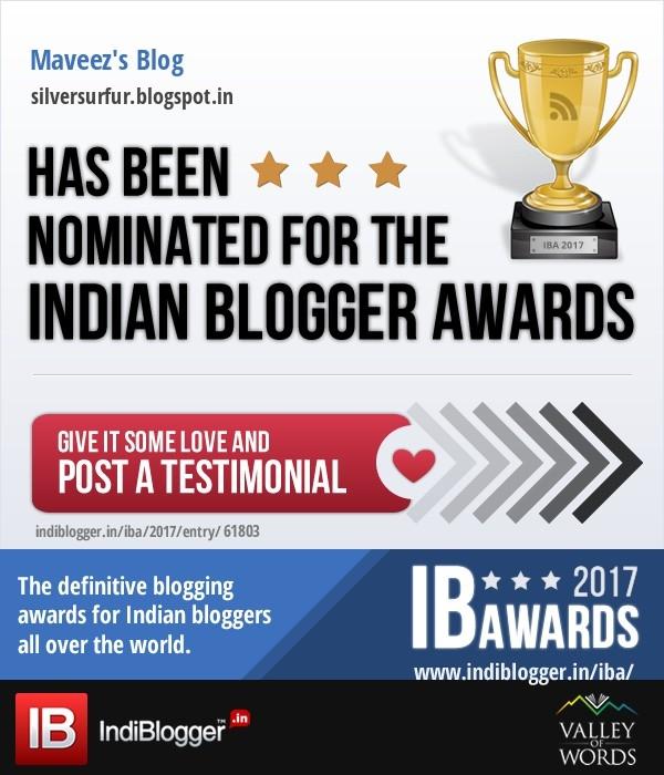 Hey guys... blog nominated Indi - maveez   ello