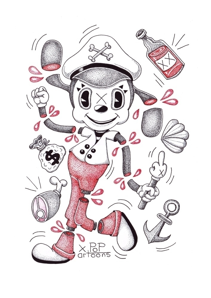 Popartoons ink drawing - day8, inktober2017 - theodoru | ello