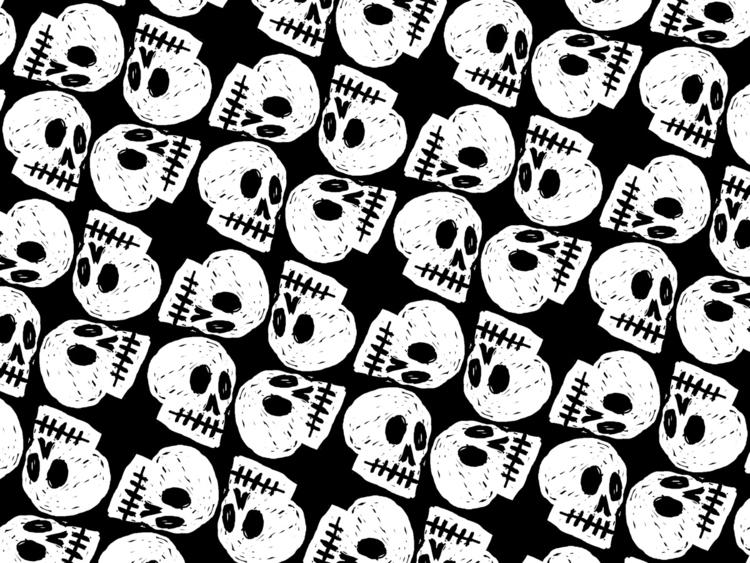 pattern, skulls, Halloween, illustration - reneeleigh   ello