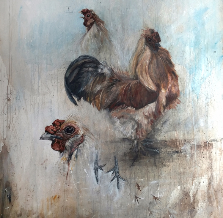 Pickles 48x48 Acrylic wood - chickens, - matt12grain | ello