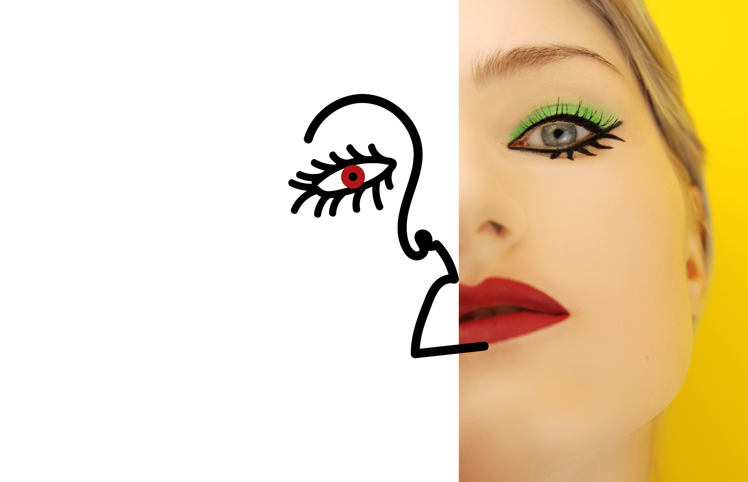 Zdjęcie przedstawia połowę twarzy młodej kobiety z czerwonymi ustami, druga połowa jest domalowana czarną kreską na białym tle.