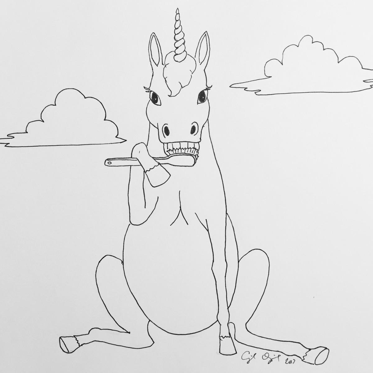 """Unicorns Brush,"" 2017, pigma p - cupidojala   ello"