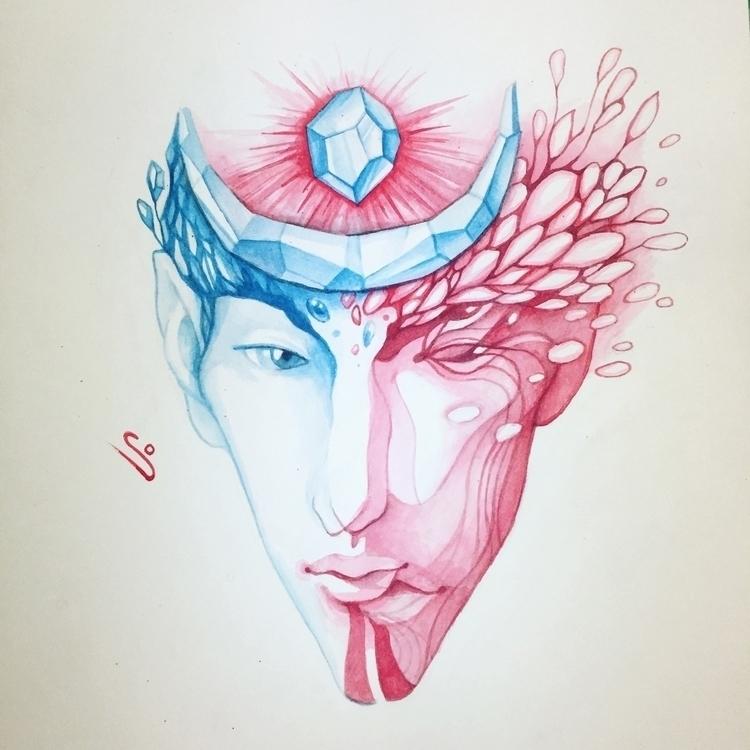 art, face, alien, moon, drawing - evesolar | ello