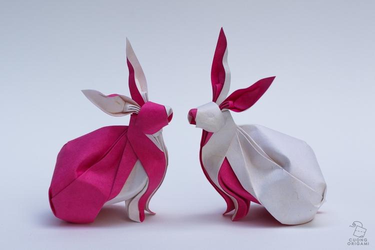 Origami Twin Rabbits Folded tri - cuongorigami | ello