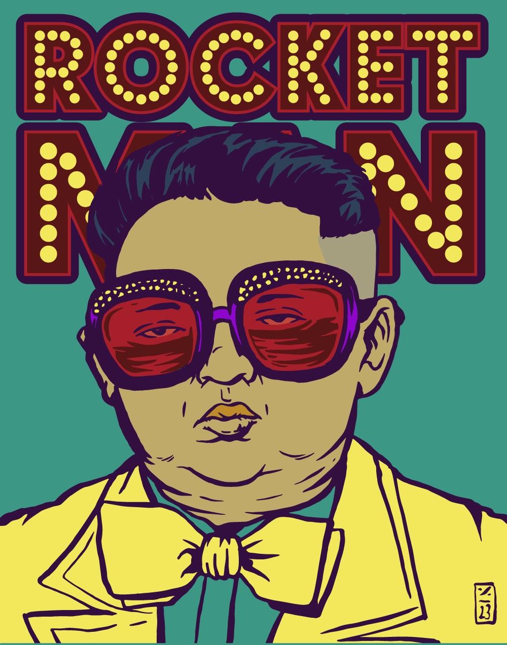 Rocket Man, North Korea - illustration - thomcat23 | ello