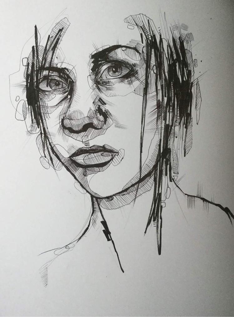 Pen ink portrait month art busy - jordansummers | ello