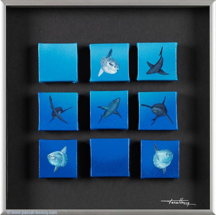 CROSSES NOUGHTS - 9 oil canvas  - bluepainter | ello
