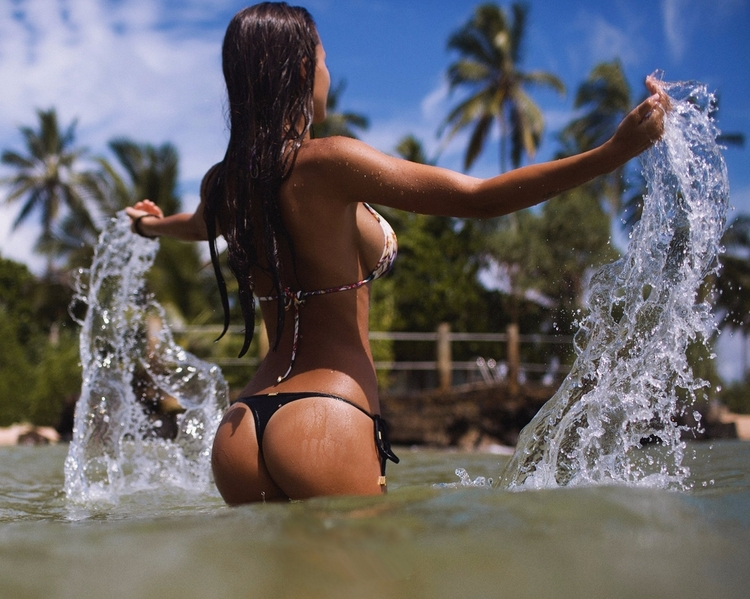 bikini, beach, brunette, nsfw - guermo | ello