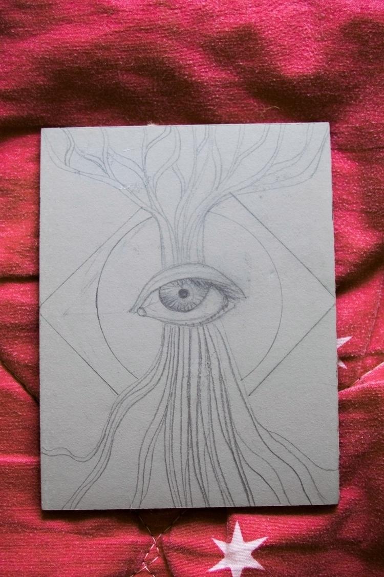 Aware Linocut 9x12 cm, red ink - vancealouisa | ello