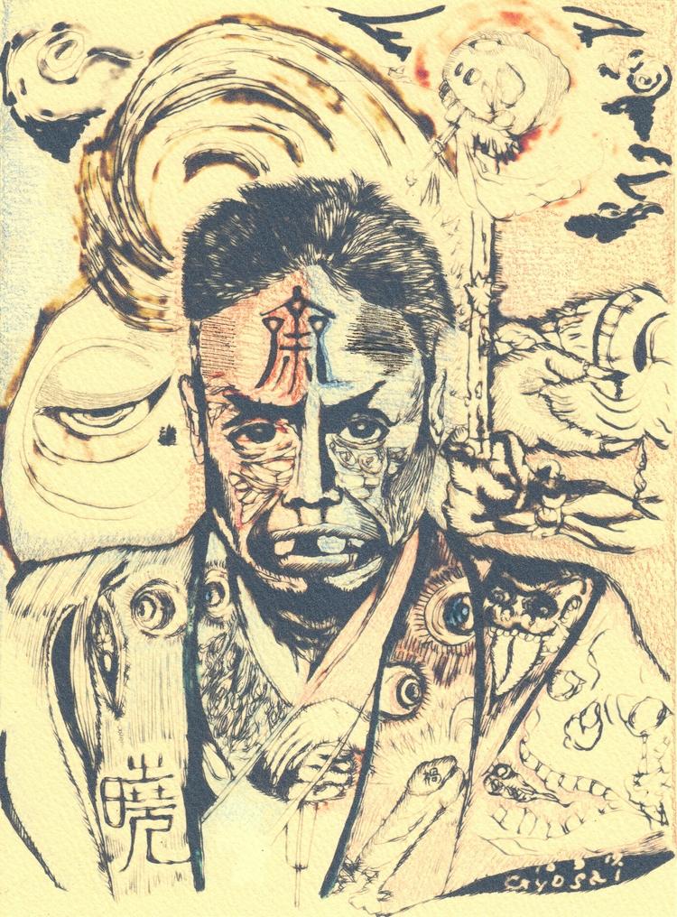 tatoo - homage kyosai - drawing - tsun-zaku | ello