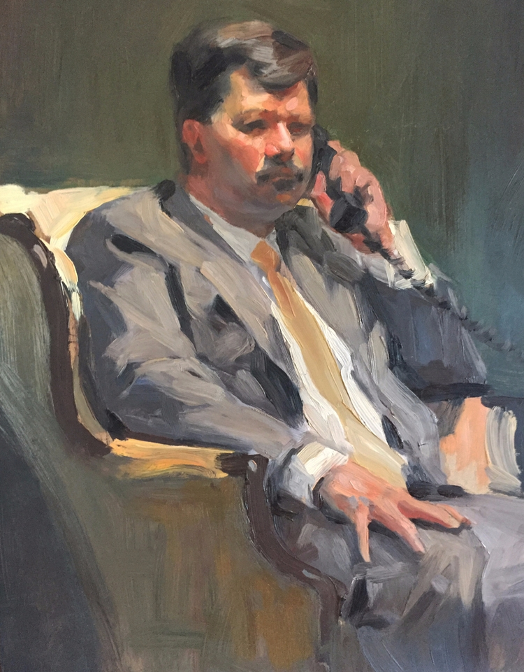 Businessman Phone: Painting str - billdomonkos | ello