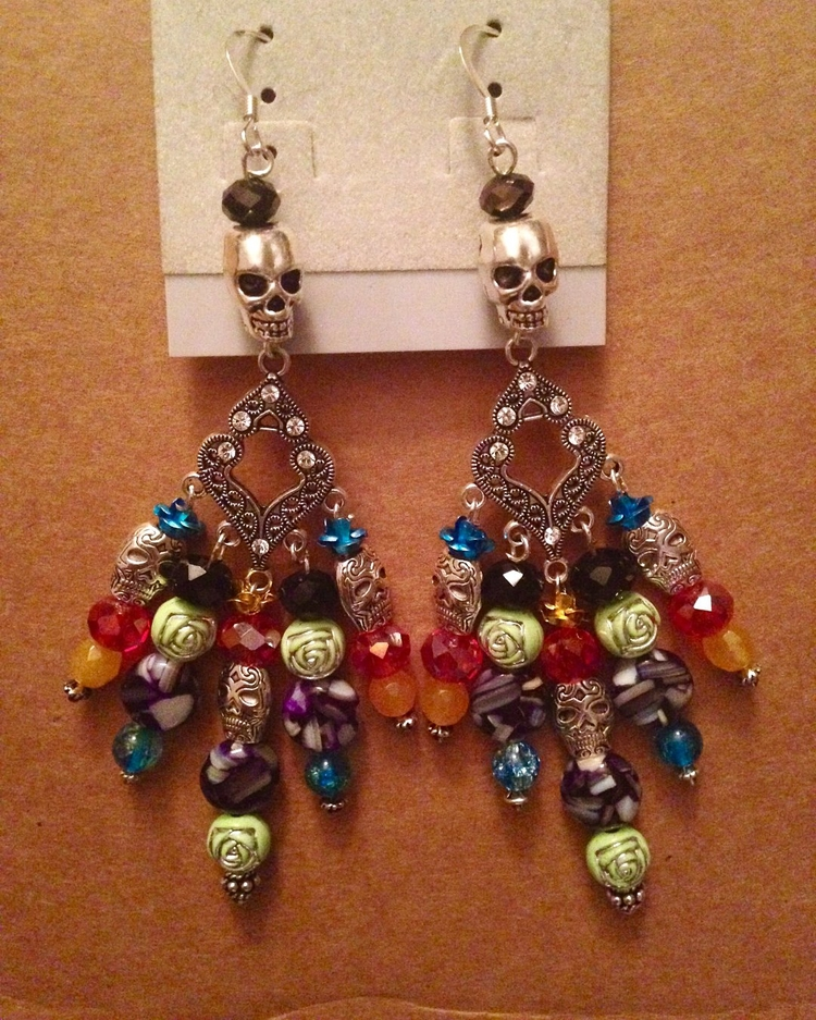earrings celebrating Day Dead - DayOFTheDead - yankeedoodlezart | ello