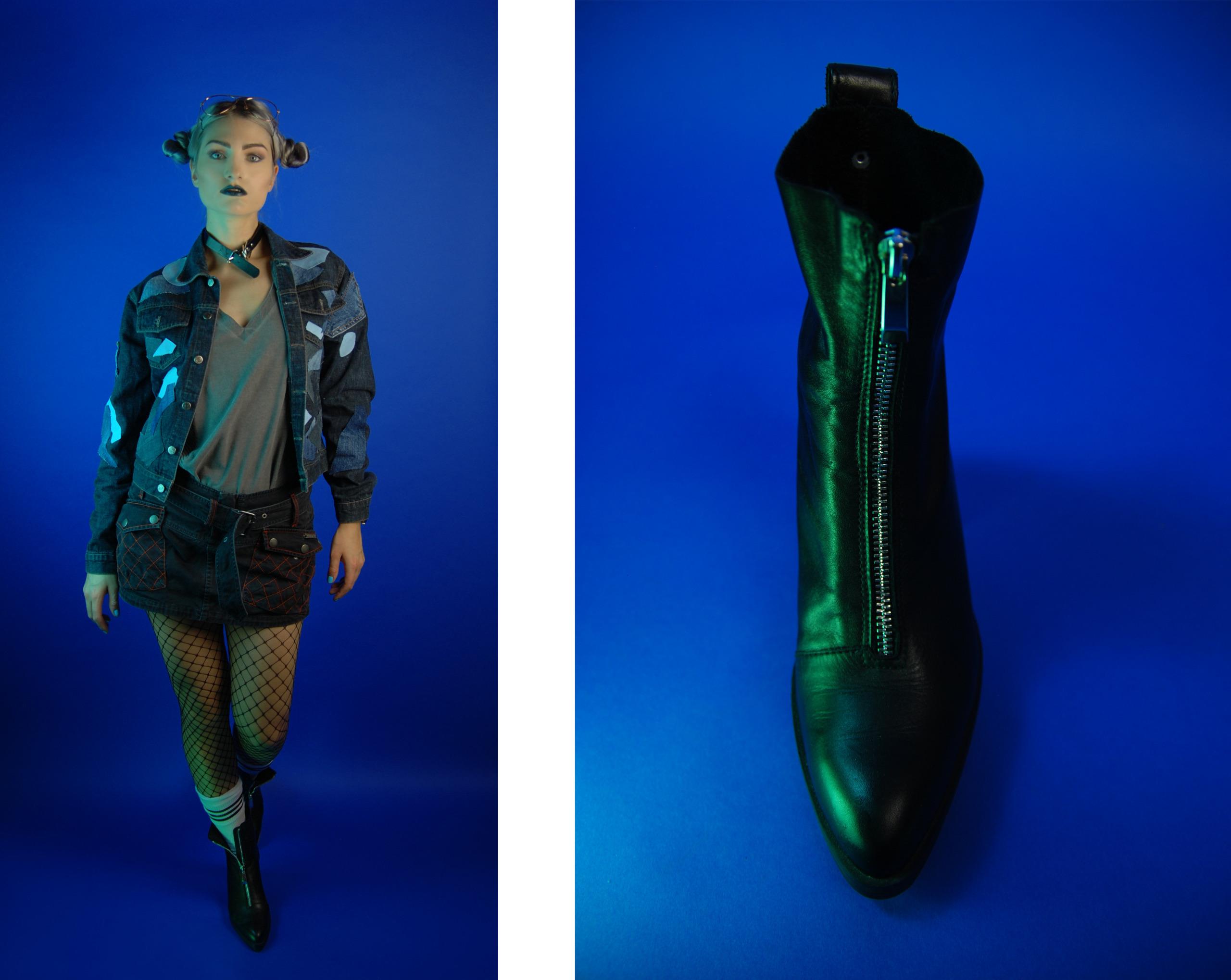 Obraz przedstawia dwa zdjęcia, po lewej stronie widzimy kobietę w krótkiej spódniczce i kurtce na niebieskim tle, po prawej stronie widzimy zdjęcie czarnego buta na niebieskim tle.