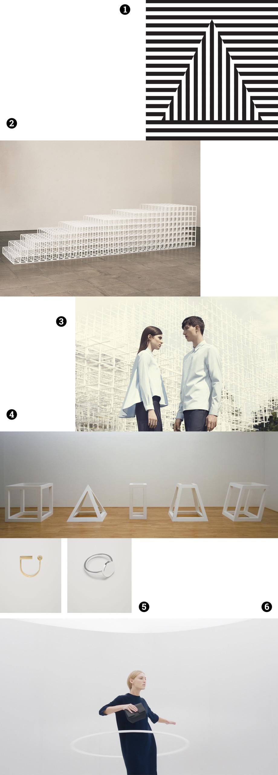 Obraz przedstawia różne zdjęcia na białym tle. Widzimy biało-czarne figury geometryczne w paski, geometryczne rzeźby, postaci ubrane w białe koszule, biżuterię.