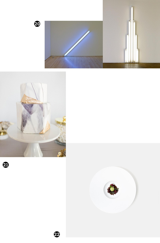 Obraz przedstawia różne zdjęcia na białym tle. Widzimy neony powieszone na ścianach, tort weselny i talerz z posiłkiem w perspektywie z lotu ptaka.