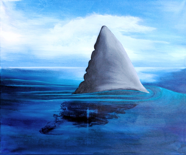 Shark Fin Acrylic Canvas 20x24 - wheresal | ello
