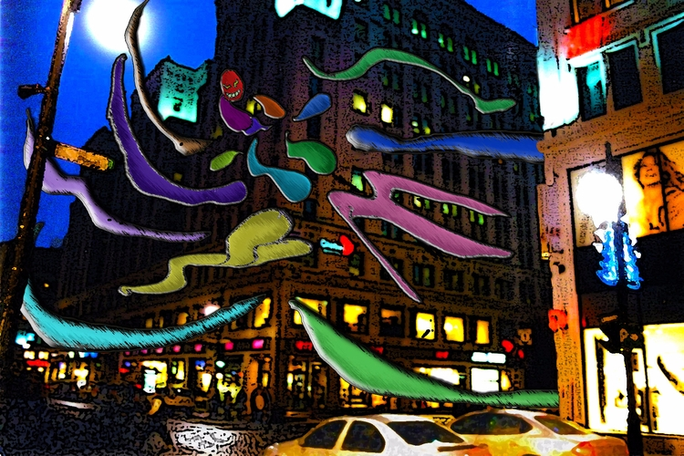 Corner Peel Night - demon, spirit - mangekkojones | ello