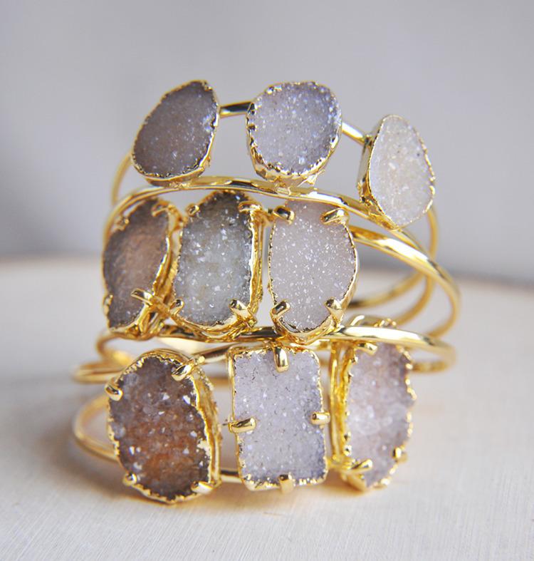 druzy, crystals, bracelet, cuff - fawinginlove | ello