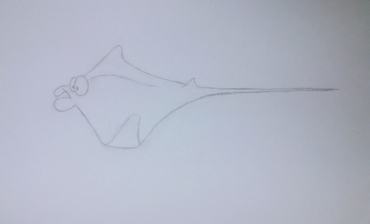 Manta Ray - drawing, sketch, pencil - kut-n-paste | ello