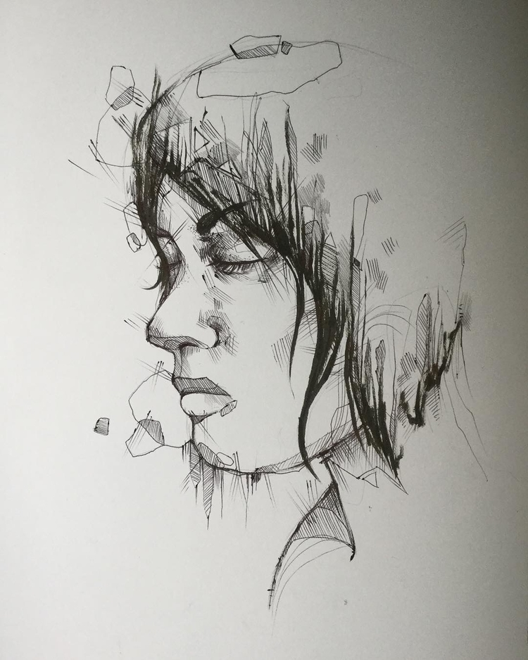 Minimalism portrait pen ink - art - jordansummers   ello