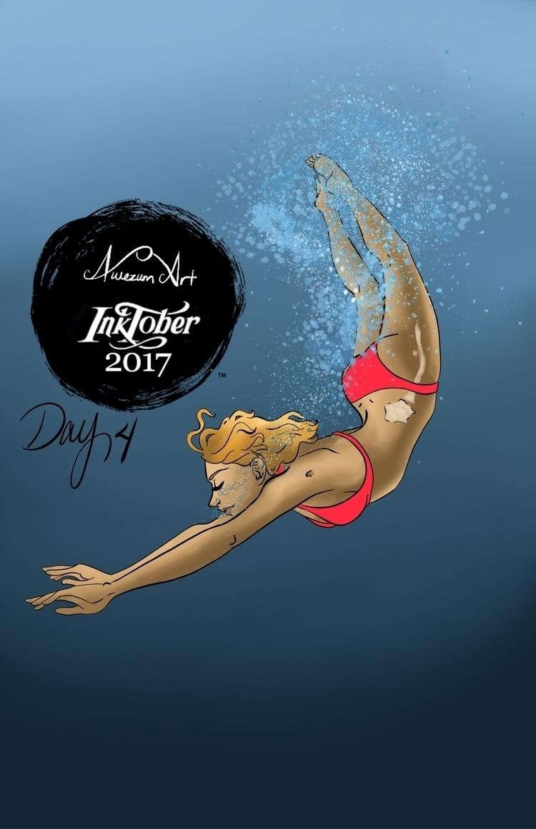 Day 4: Underwater Ceelie swim - inktober2017 - awezumart | ello