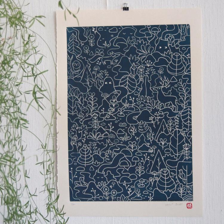 Handmade, linocut print, limite - pulcomayo | ello