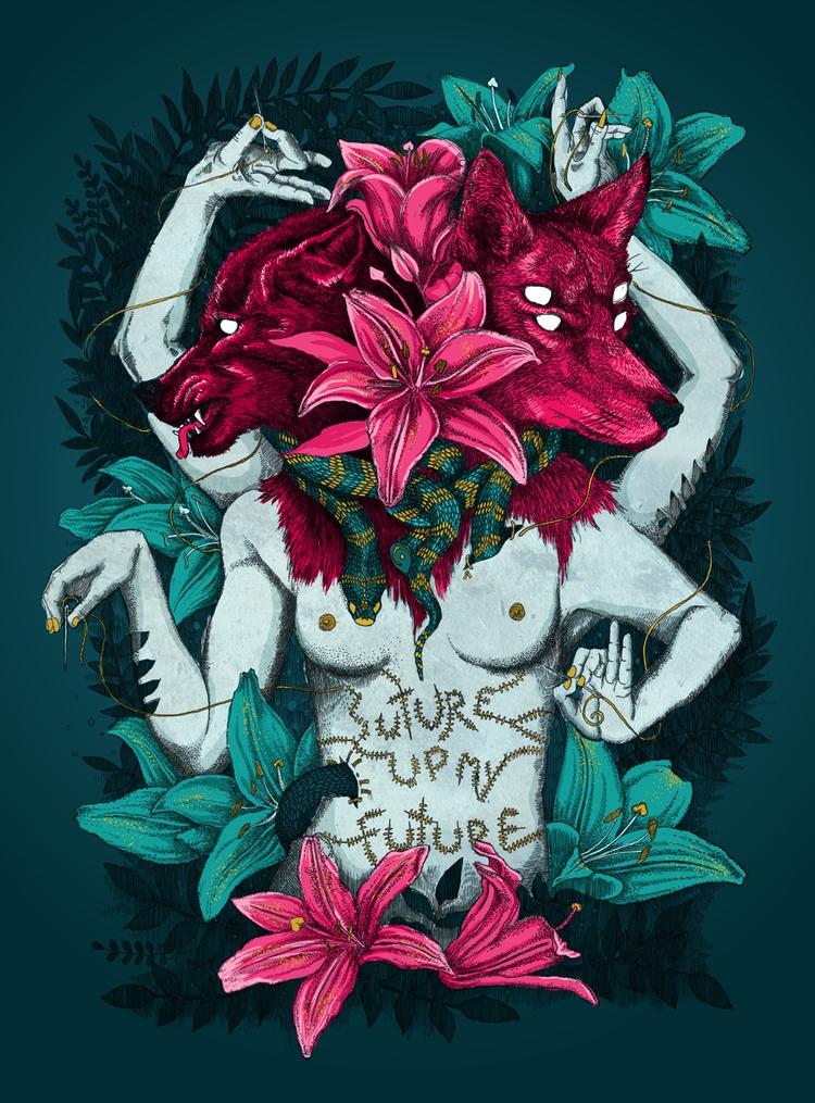 Suture colour - illustration, illustrator - polkip | ello