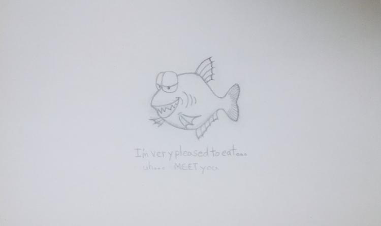 Piranha - drawing, sketch, pencil - kut-n-paste   ello