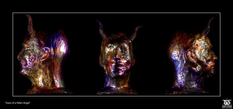 Scars Fallen Angel sculpture Gr - greycrossstudios | ello