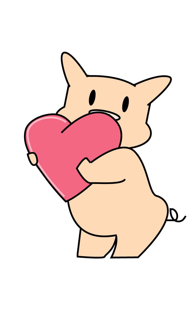 Heart Piggy - cartoon, illustration - cakebruh | ello
