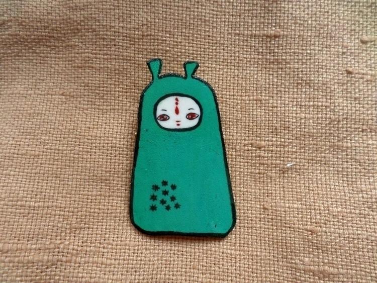 Alien pin illustration - cute, kawaii - thefluffandpurr | ello