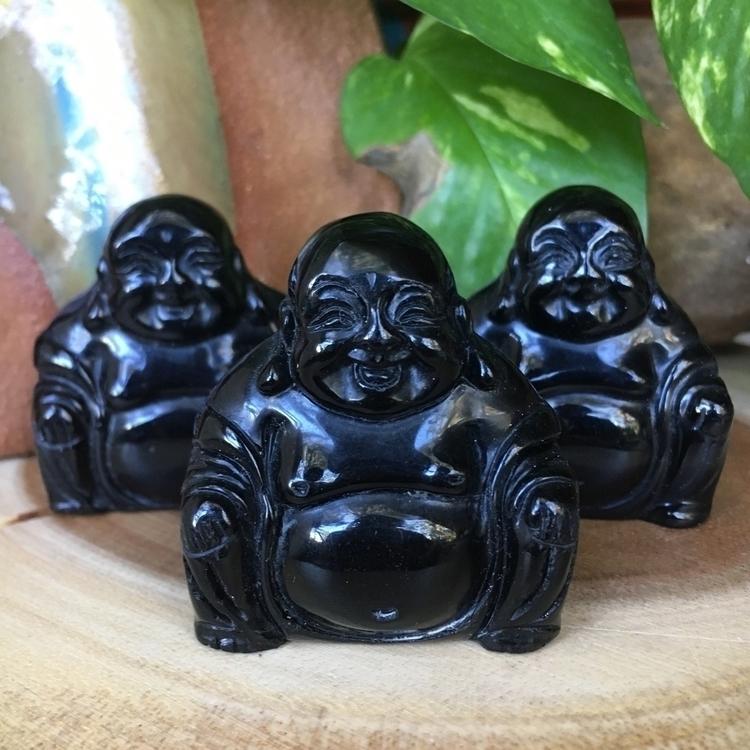 Black Obsidian Happy Buddha Sta - thesacredcrystal   ello