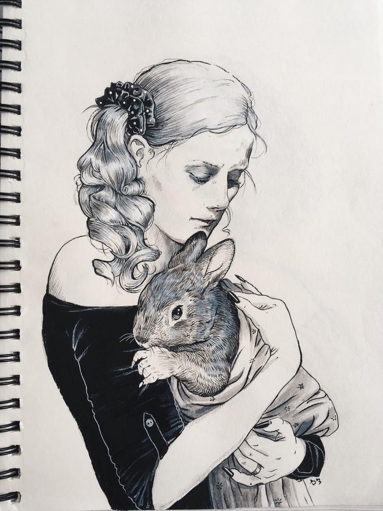 bunny love - inktober - tsofiah | ello