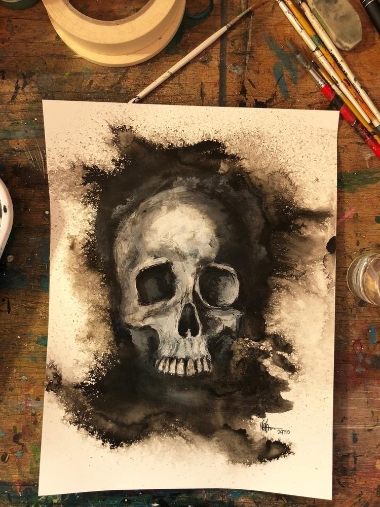 halloween, skull, painting, ink - nathanawoodart   ello