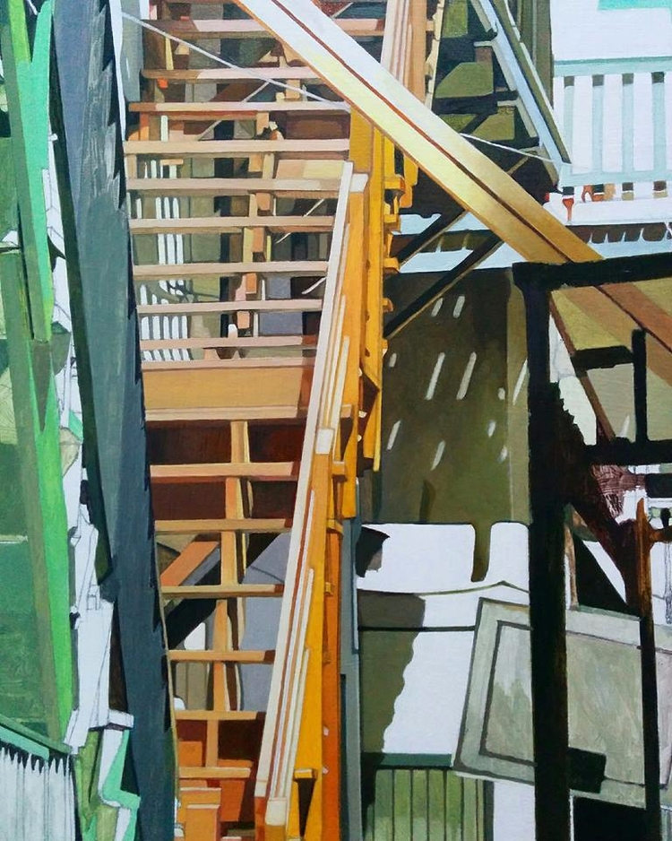 Update orange flight stairs - oilpainting - enelojial | ello