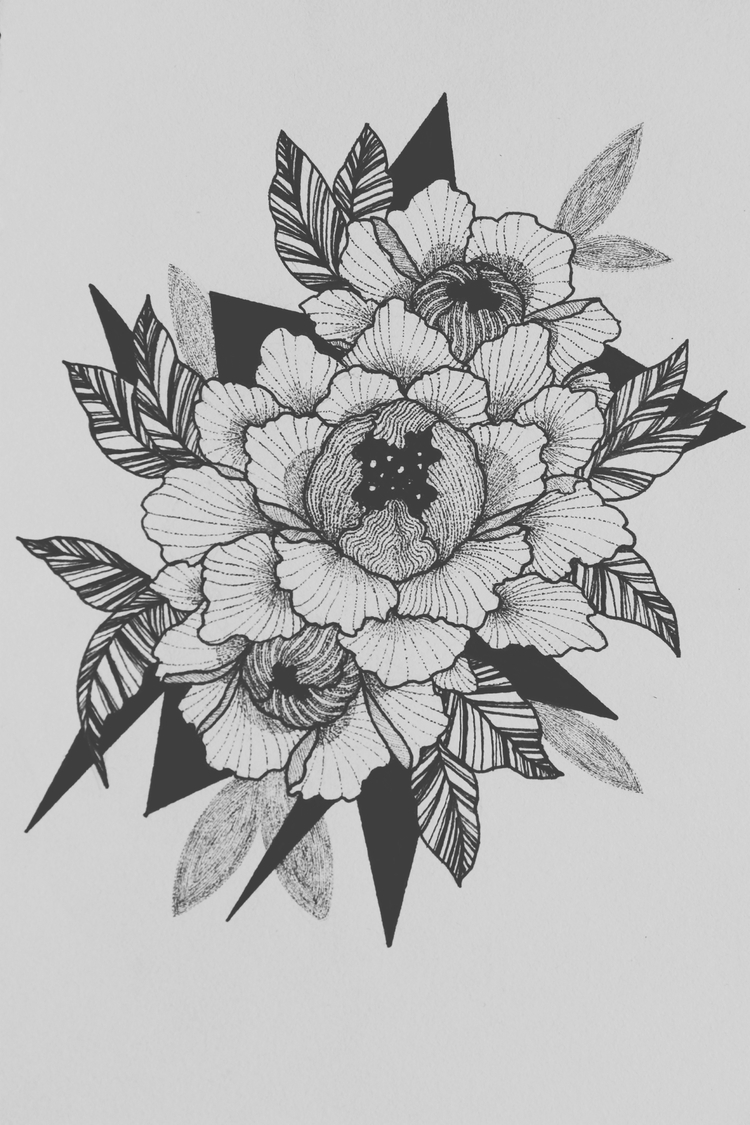 dotwork, linework, floral - dtlecky | ello