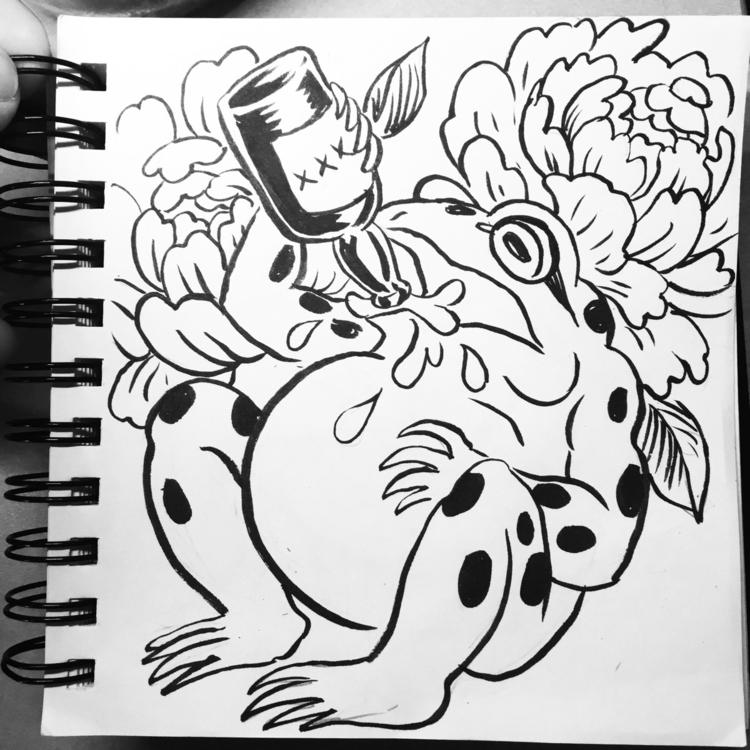 ready weekend - frog, ink, inktober - royallyeric | ello