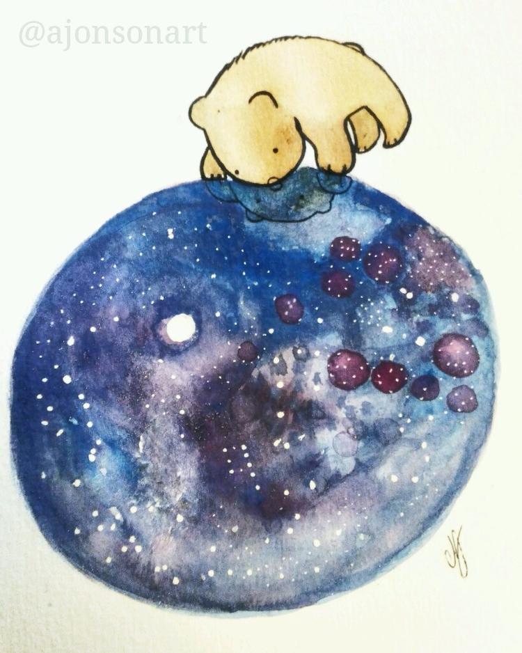 pool stars  - bear, moon, water - ajonsonart | ello