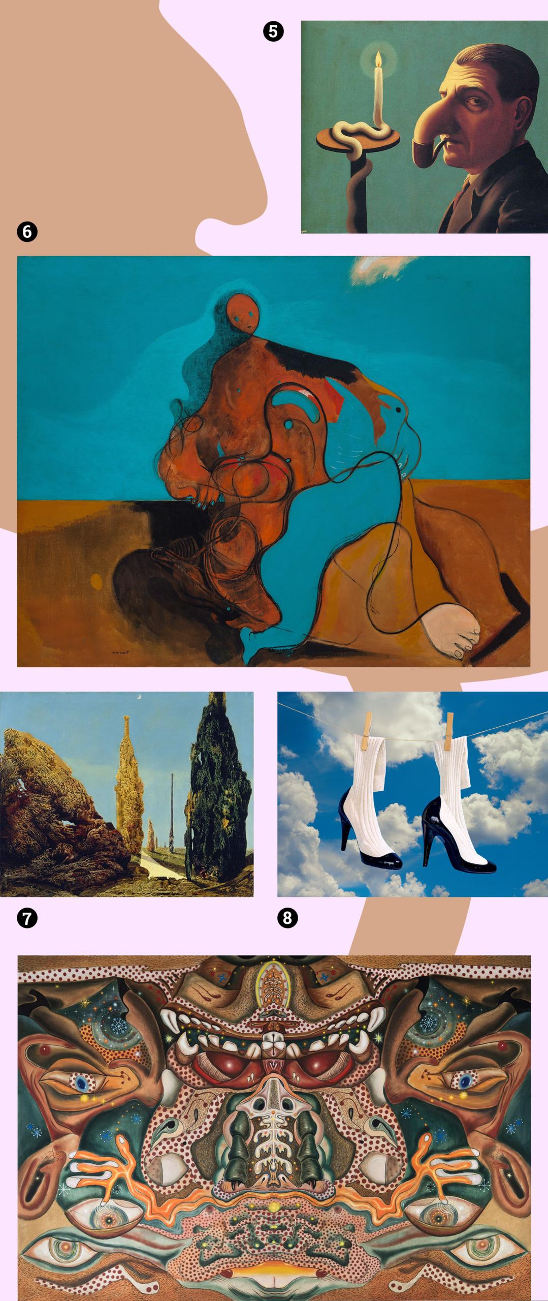 Obraz przedstawia zdjęcia różnych dzieł sztuki na blado-różowym tle.
