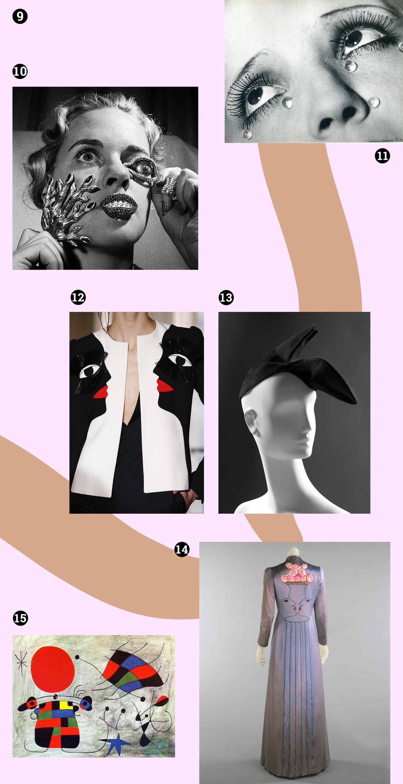 Obraz przedstawia różne zdjęcia na blado-różowym tle. Widzimy sukienkę, kapelusz w kształcie buta, czarno-białe fotografie damskich twarzy, obraz.