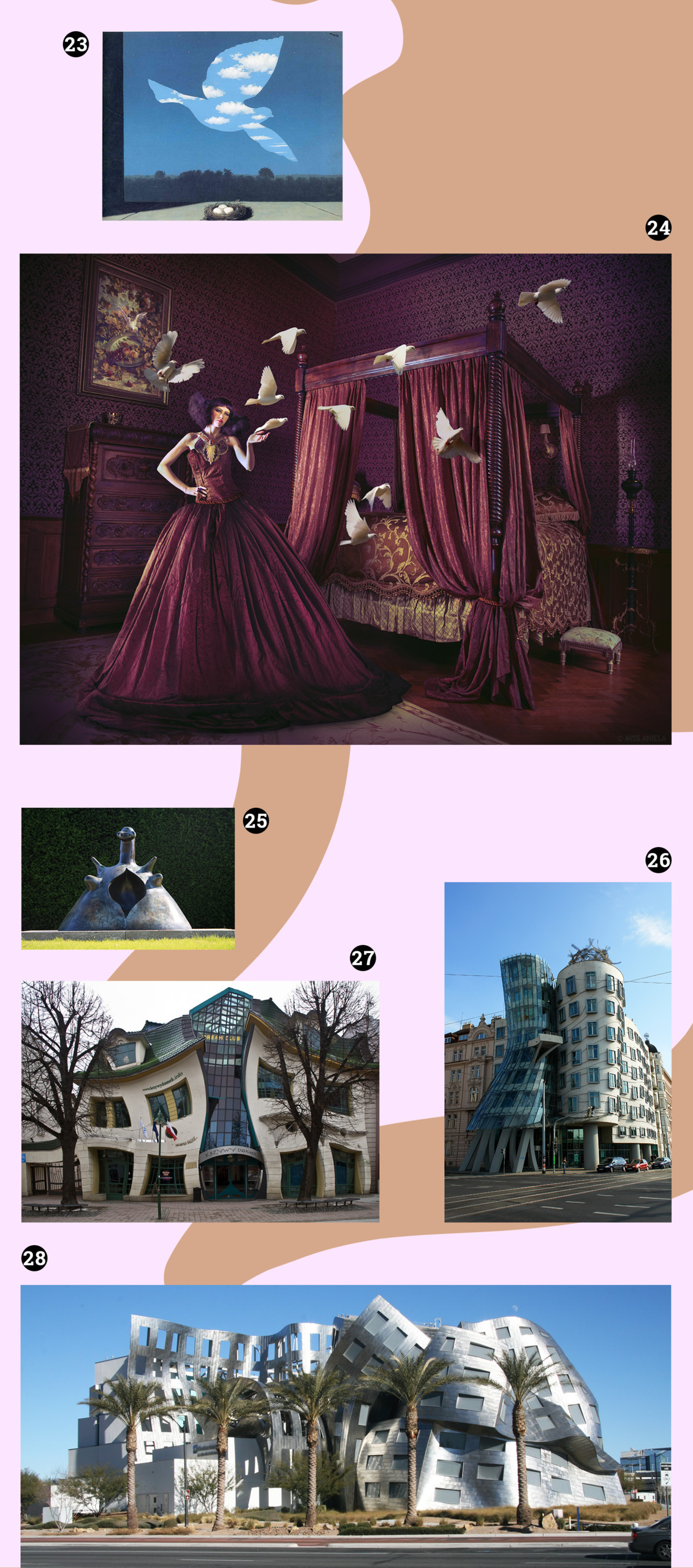 Obraz przedstawia różne zdjęcia na blado-różowym tle. Widzimy zdjęcia różnych budynków, fotografię, obraz z gołębiem.