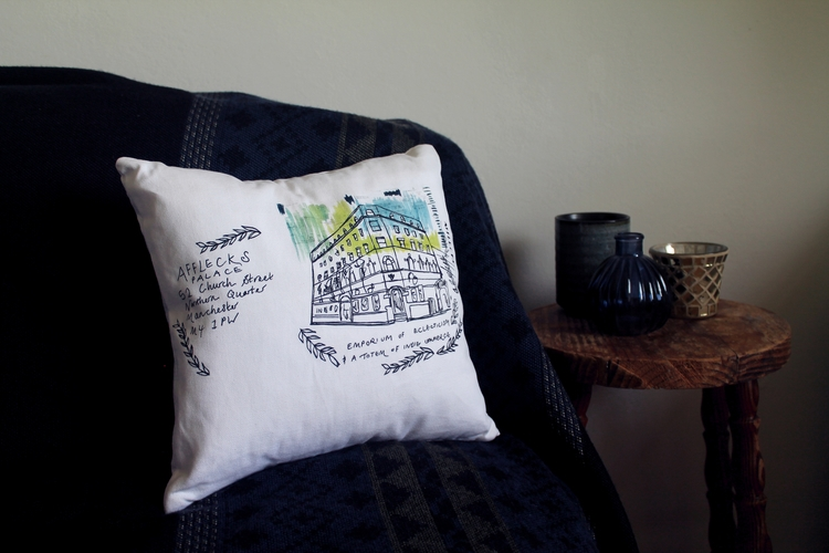 Afflecks Palace Throw Cushion - manchester - cogginsketchbook | ello