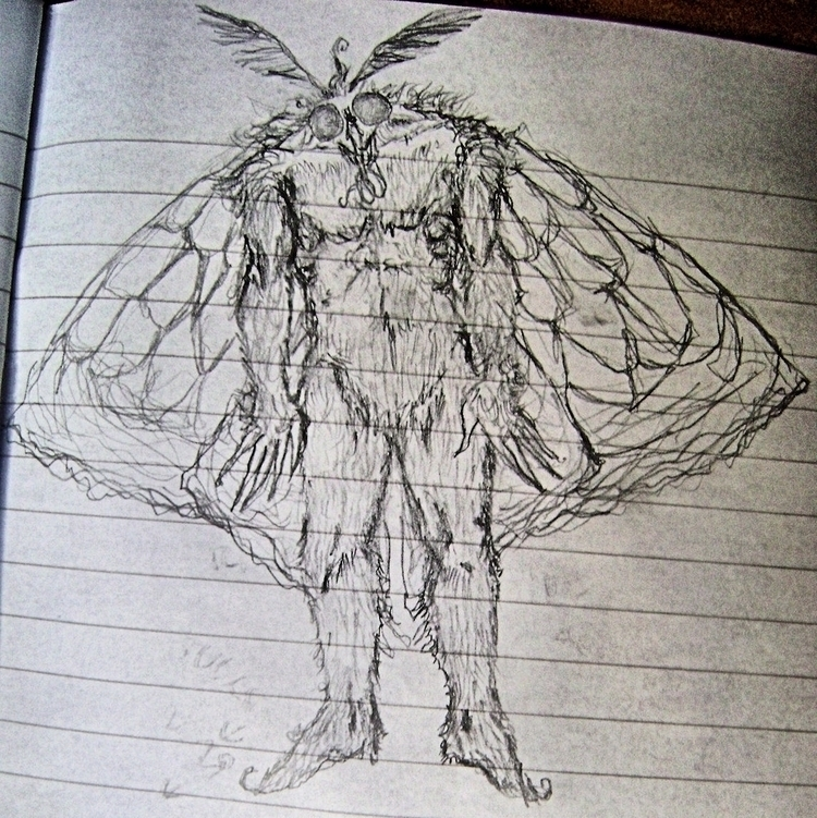 mothman doodle - mesencephaleisole | ello