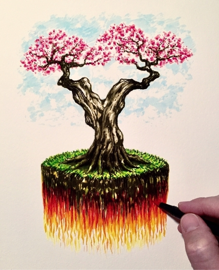 Growth, earth, fire, - Inktober - brianjohnsonart   ello