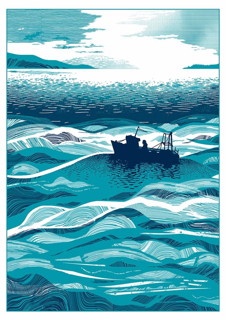 Fishing Boat Bobbing Sea inspir - chriskeegan   ello