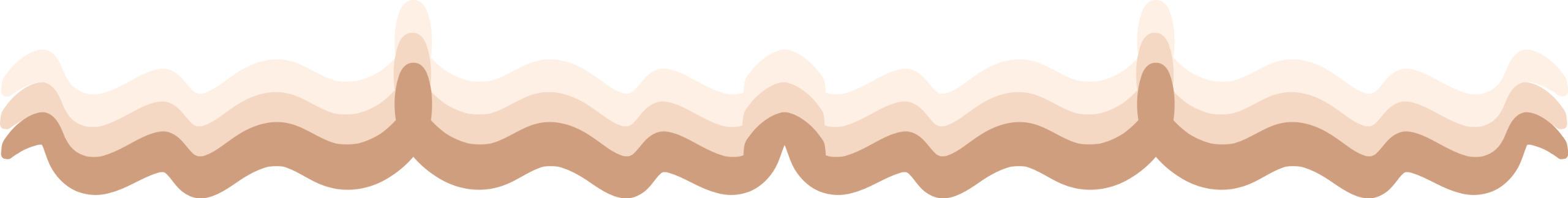 Obraz przedstawia trzy kształty przypominające fale w odcieniach beżu.