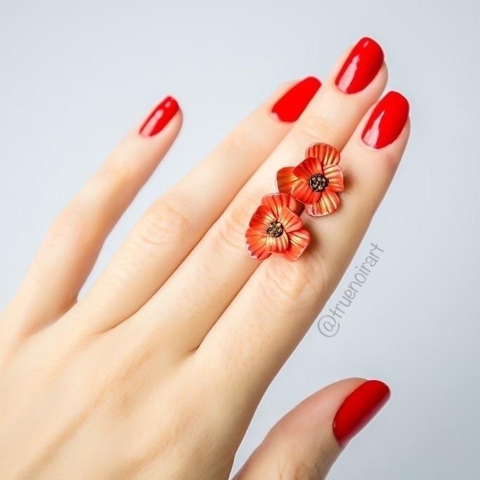 Shimmering orange poppy stud ea - truenoir | ello