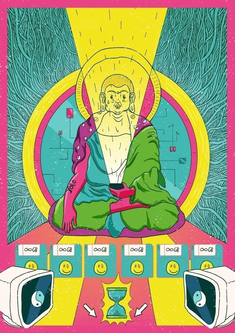 poster, posterart, buddha, illustration - trippiesteff | ello