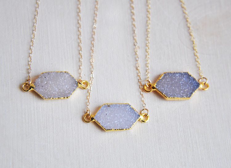 Small druzy necklaces great gif - fawinginlove | ello
