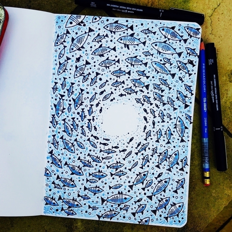 fishy stuff - fibretip blue pen - stevesimpson | ello